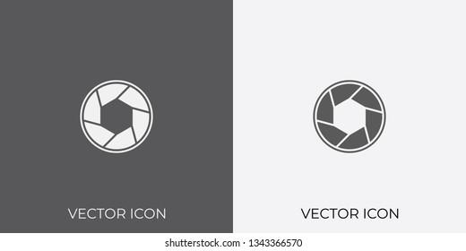 Light & Dark Gray Icon of Camera Shutter For Mobile, Software & App.. Eps. 10. - Vector