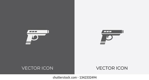 Light & Dark Gray Icon of Pistol For Mobile, Software & App.. Eps. 10.