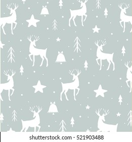 Light decorative reindeer cute vector pattern. Design background image winter holiday backdrop.
