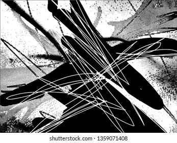 Light Distressed Background. Ink Print Distress Background. Grunge Texture. Vector. Simple abstract black and white drawing. Expressive drawing. Abstract Overlay Texture.