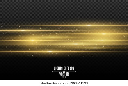 Light effect. Abstract laser beams of light. Chaotic neon rays of light. Golden glitters. Isolated on transparent dark background. Vector illustration. EPS 10