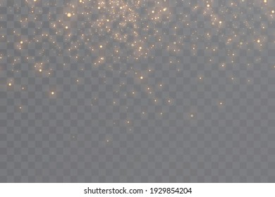 Light effect. Background of sparkling particles. Glittering elements on a transparent background.