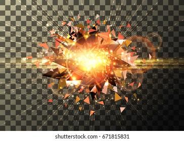 Light effect, bright explosion blast, on transparent background. Vector graphic design
