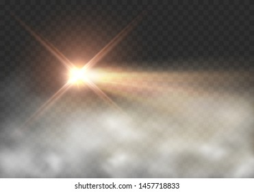Light effect in fog isolated on transparent background. Glow motorcycle or motorbike headlight and smoke. Vector bright beacon lights with mist.