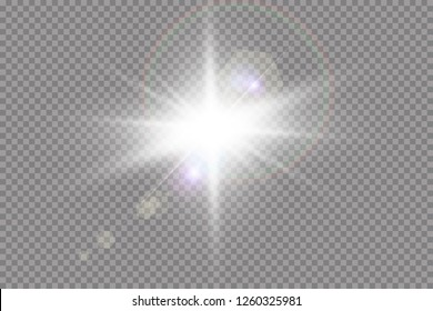 Light effect glow. Bright Star. The transparent shining sun, bright flash.