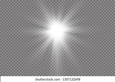 Light effect glow. Bright Star. The transparent shining sun, bright flash.