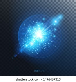 Light effect of glow, purple explosion or flash with shiny particles on transparent background. Vector illustration.