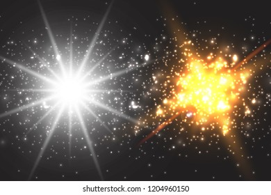 Light effect glow. Star flashed sequins. Abstract space background. Flash Highlight beam. Fantastic design.