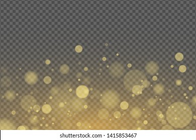 Light effect of golden glares bokeh isolated on transparent background. Bright glow. Golden glitters. Random blurry spots. Vector illustration EPS 10