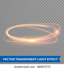 Light effect line gold vector circle. Glowing light fire ring trace. Glitter magic sparkle swirl trail effect on transparent background. Bokeh light glitter round wave line with sparkling flash light