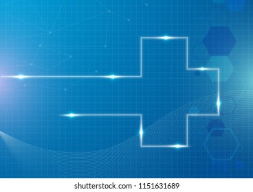 The light effect medical cross abtract blue background