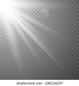 Light effect on transparent background. Graphic concept for your design. glow decor element. Star burst rays and spotlight. Vector illustration eps10.