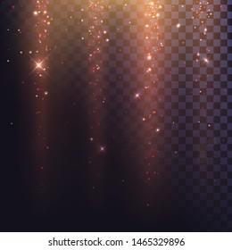 Light effect on a transparent background, falling red sparks, light from above