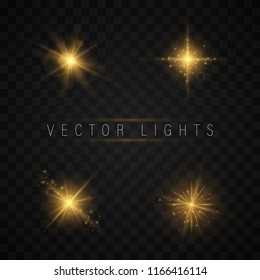 light effect set. Shining star, the sun particles and sparks with a highlight effect, color bokeh lights glitter and sequins. On a dark background transparent. Vector, EPS10.