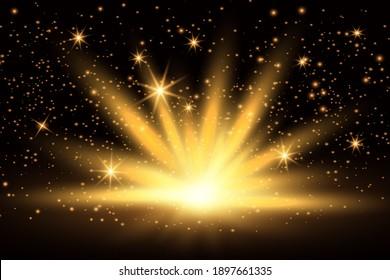 Light effect, shining golden bright light. Gold shine burst with sparkles illustration isolated on dark background.