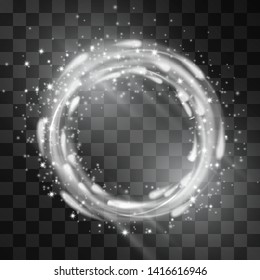 Light effect with silver circle frame with glowing tail, shining stardust sparkles, swirling drops and cold illumination. Glistening blizzard energy ring flows in motion. Luxurious design element.