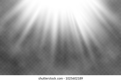 Light effect and smoke on transparent background. Abstract bright lighting. Creative light concept. Vector illustration.