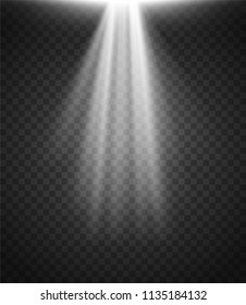 Light Effect. Spotlight. Light Rays on Transparent Background. Vector Illustration.
