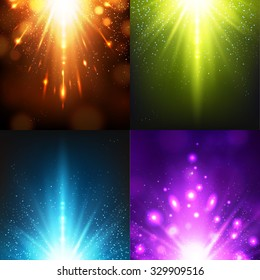 Light Effects Collection. Colorful Flashes. Vector illustration