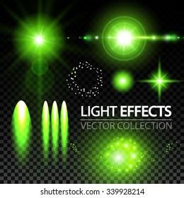 Light Effects Collection. Stars, Spotlights, Explosion & Bokeh. Vector illustration