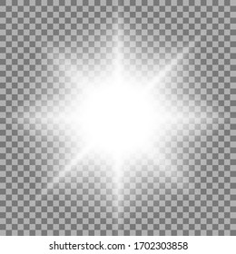 Light effects on a transparent background. Shine gradient glitter, bright flare. Sun texture. Vector illustration.
