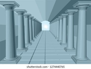 light in the end of tunnel with columns