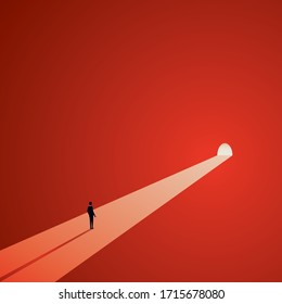 Light at the end of the tunnel vector concept. Symbol of dark times ending, hope on horizon, future success. Eps10 illustration.