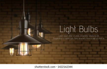 Light equipment store 3d realistic vector ad banner template. Vintage incandescent lamps bulbs with heated filament in black metal lattice cage hanging from above illustration on brick wall background