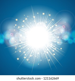 light explosion background on blue with lens flares