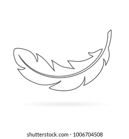 Light feather outline icon illustration isolated on white background