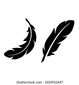 Light feathers vector icon set isolated on white background