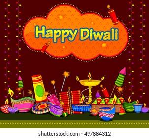 Light Festival of India Happy Diwali celebration background in vector