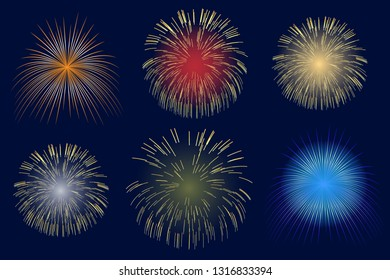 Light fireworks on dark background. Abstract colorful fireworks for design banners, invitations and greeting cards. Vector illustration.