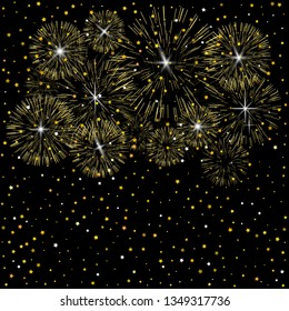Light fireworks on dark background. Abstract background. Golden fireworks. Vector illustration.