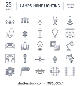 Light fixture, lamps flat line icons. Home and outdoor lighting equipment - chandelier, wall sconce, bulb, power socket. Vector illustration, signs for electric, interior store
