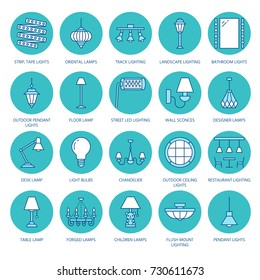 Light fixture, lamps flat line icons. Home and outdoor lighting equipment - chandelier, wall sconce, bulb, power socket. Vector illustration, signs for electric, interior store.