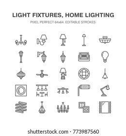 Light fixture, lamps flat line icons. Home and outdoor lighting equipment - chandelier, wall sconce, bulb, power socket. Vector illustration, signs for electric, interior store. Pixel perfect 64x64.
