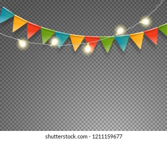 Light and flag garlands isolated on transparent background