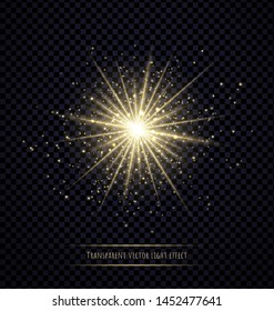Light flare effect isolated on transparent background. Lens flare, sparkles, bokeh, shining star with rays concept. Abstract luminous explosion.