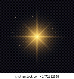 Light flare effect isolated on transparent background. Lens flare, sparkles, bokeh, shining star with rays concept. Abstract luminous explosion