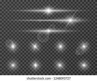 Light flare. Optical lens glowing flashlight effect. Gleaming camera flash. Realistic sparkles vector set
