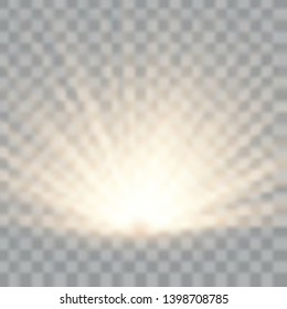Light flare special effect with rays of light and magic sparkles. Glow transparent vector light effect. Sun.