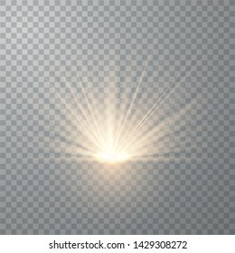Light flare special effect with rays of light and magic sparkles. Glow transparent vector light effect set, explosion, sun flash. Vector Illustration EPS10.