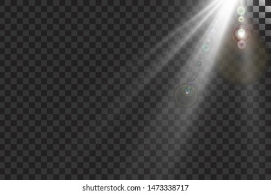 Light flare special effect with rays of light and magic sparkles. Glow transparent vector light effect set, explosion, glitter, spark, sun flash. -