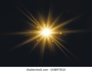 Light flare special effect with rays of light and magic sparkles. Glow transparent vector light effect