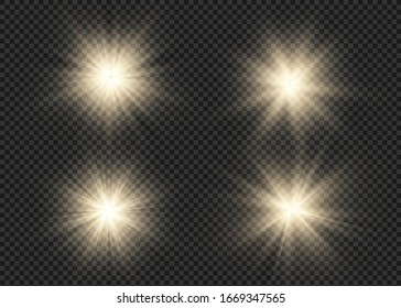 Light flare special effect with rays of light and magic sparkles. Glow transparent vector light effect set, explosion, glitter, spark, sun flash