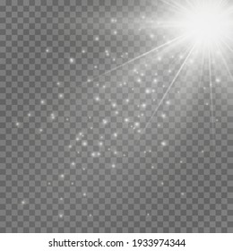 Light flare special effect with rays of light and magic sparkles. Glow transparent vector light effect set, explosion, glitter, spark, sun flash.