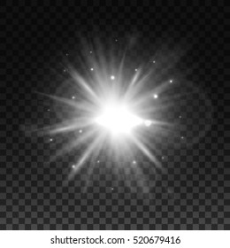 Light flare or star explosion with glowing sparkles and lens flare effect. Shining sunburst light effect on transparent background. Sunlight background for art design