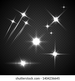 Light flashes vector illustration. Glowing, twinkling comets on transparent background. Sparkling explosion, glimmer, flare isolated cliparts set. White falling stars effect realistic design element