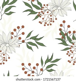 Light floral seamless pattern. Large flowers with green leaves on a white background. Vector hand drawn gentle illustrations for fabrics, bedding, kitchen textiles and curtains.